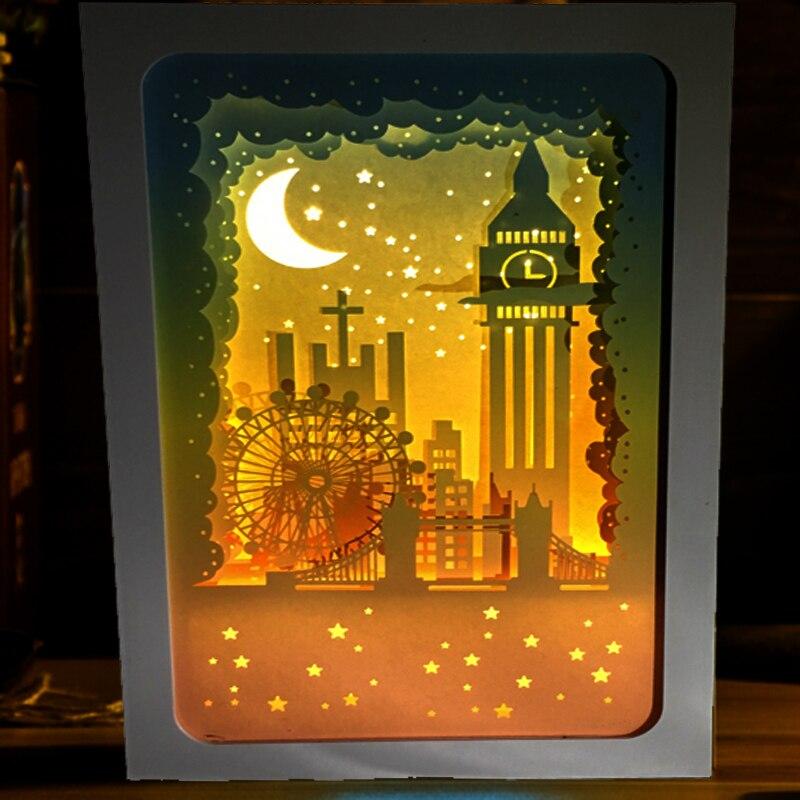 3d papercut light boxes london big ben design paper lantern baby night light lamp of creative. Black Bedroom Furniture Sets. Home Design Ideas