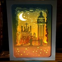 3D Papercut Light Boxes London Big Ben Design Paper Lantern Baby Night Light Lamp of Creative Light Paintings Family Gift