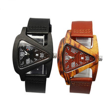 Unisex Charm Glass Bamboo Wooden WatchesFor Men and Women Fashion  Triangle Genuine   Leather Analog Quartz  Wrist Watch