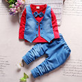 Spring Newborn Baby boy Clothes Bow lie Kids Suit Clothing Cowboy sets 3PCS Child bebe Solid Cloth Outfit New 2017 Sport Coat