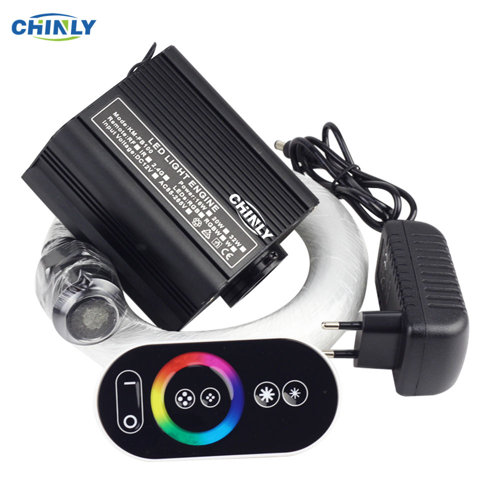 16W RGB Fiber Optic Star Light Ceiling Kit LED Lights Engine RF Touch Control 2m 3m 4m Optical Fiber Cable