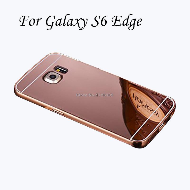 2 в 1 Алюминий металлический бампер съемный + Зеркало Жесткий Чехол для Samsung Galaxy S6 Edge g9250 Рамки Coque принципиально S6Edge крышка