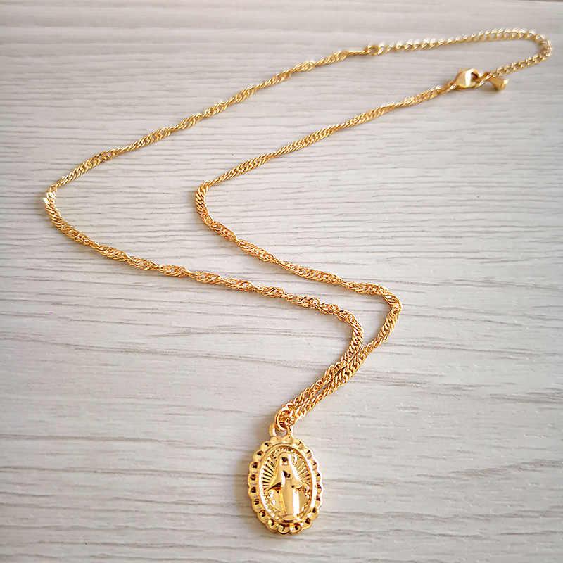 Bohemia Warna Emas Cross Berlapis Kalung Yesus Perawan Maria Jaringan Liontin Kalung Hari Paskah Hadiah untuk Wanita LXL188