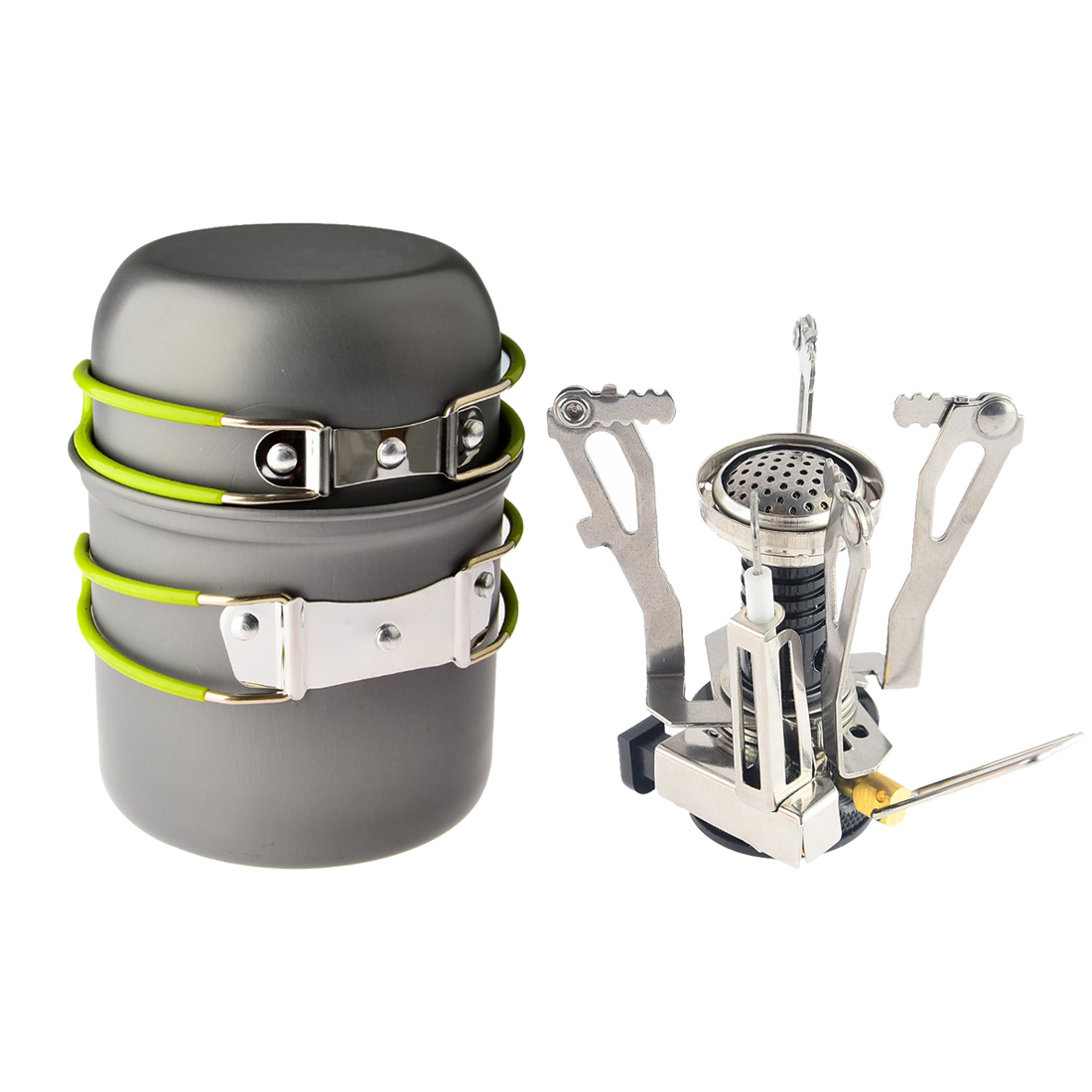 Camping në natyrë Hiking Backpacking Picnic Cookware Tool gatim Set Set tenxhere + Piezo Ignition Canister Sobë udhëtimi Cookware