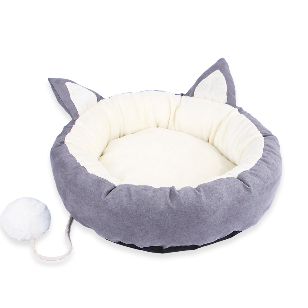 Cartoon Cat Pet Bed Round Kitten Sleeping House Puppy Dogs Kennel Detachable Washable Warm Soft Cat Mat with Plush Ball Toy