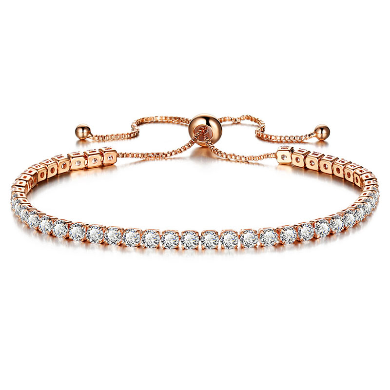 Fashion adjustable bracelet for women bridal wedding jewelry cubic zirconia tennis bracelets bangles pulseras mujer charm D40 in Charm Bracelets from Jewelry Accessories