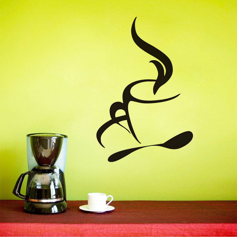 Simple Design Coffee Wall Stickers Home Decor Removable Waterproof ...