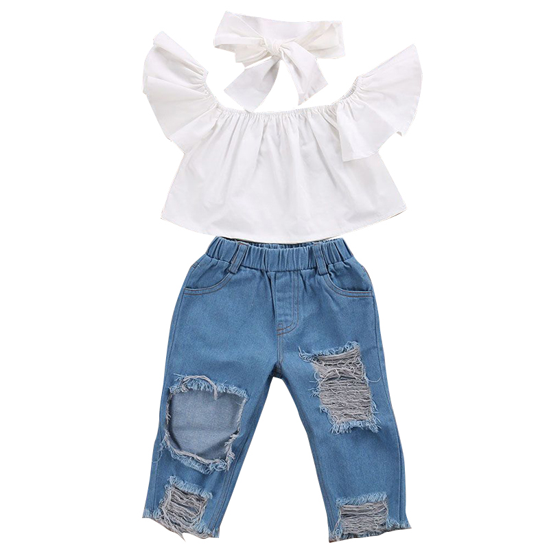 BogiWell 2018 Fashion Children Girls Clothes Off Shoulder Crop Tops White+ Hole Denim Pa ...