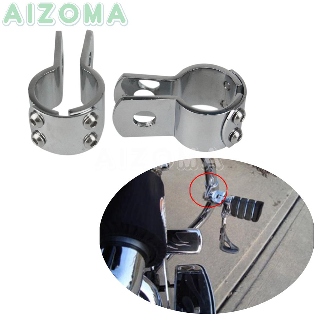 Chrome Motorcycle 1 1//2 38mm Highway Engine Crash Bar Mount Foot Peg Mount Clamp For Harley Engine Guard Honda GL1800 Yamaha Suzuki Boulevard Kawasaki