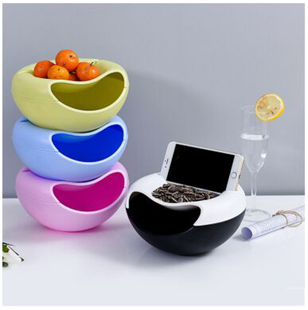 1PC Plastic Melon Seeds Storage Box Candy Snack Dry Fruit Organizer Bowl Table Container Plate Dish With Mobile Phone Holder