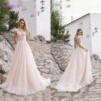 Robe de mariee A Line Lace Beach Wedding Dress 2019 New arrival Scoop Neck White Bridal Gown Tulle Skirt Vestido de noiva