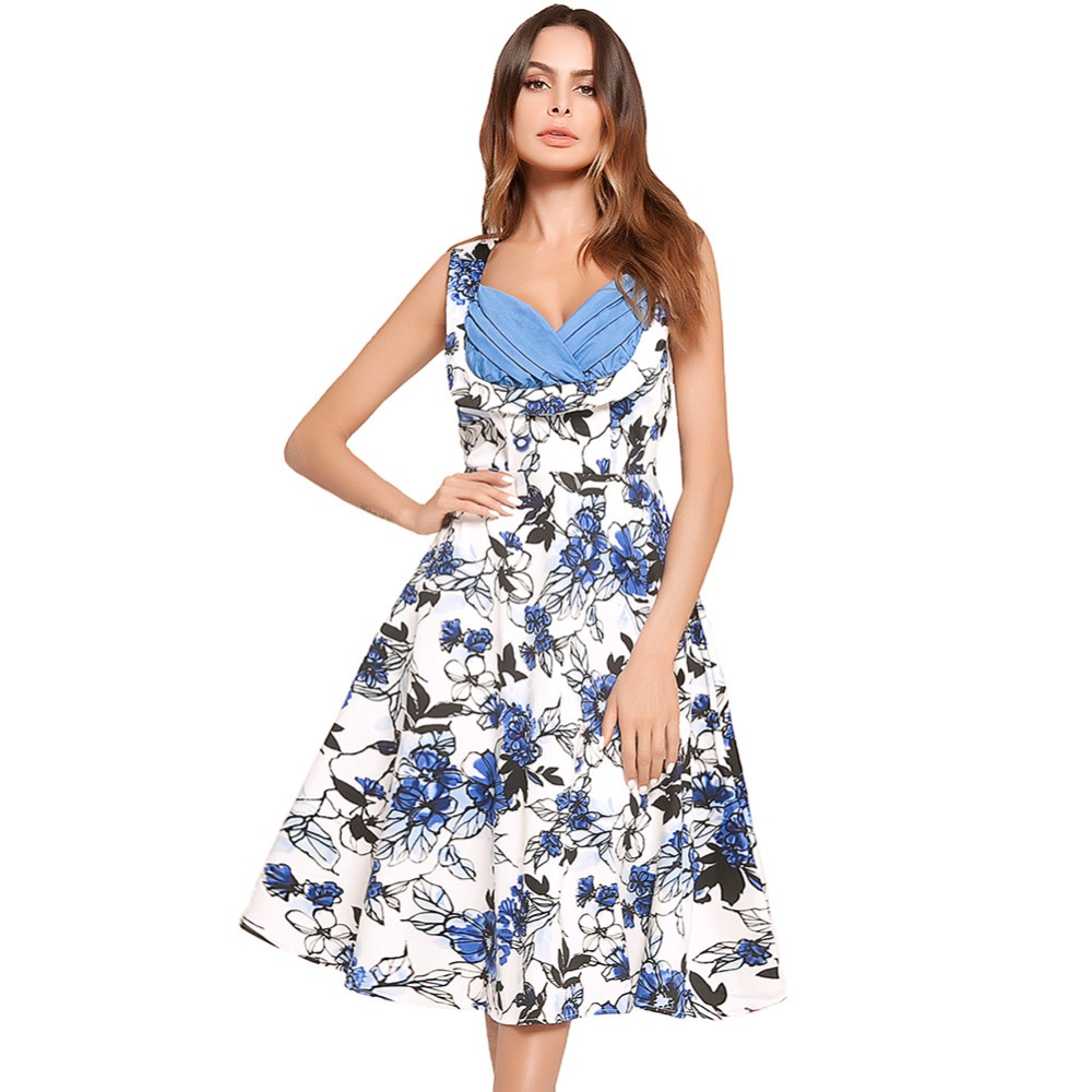 Fashion Women s Summer Dress Tube Top Contrast Color Hepburn Style big  swing Printed Flowers and Butterflies Red Flower Dress 97c6e0bd7