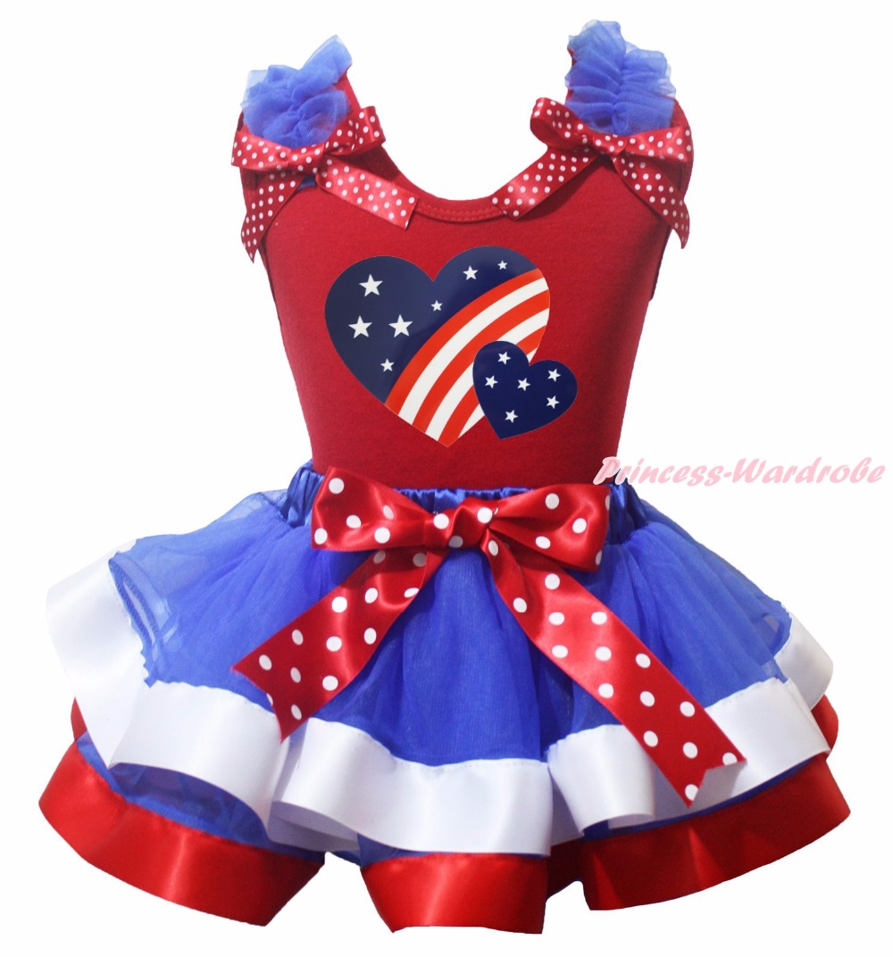 ФОТО 4th July Proud American Flag Heart Twin America Heart Plain Ruffle Bow Red Cotton Top BWR Satin Trim Skirt Girls Outfit NB-8Y