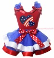 4th July Proud American Flag Heart Twin America Heart Plain Ruffle Bow Red Cotton Top BWR Satin Trim Skirt Girls Outfit NB-8Y