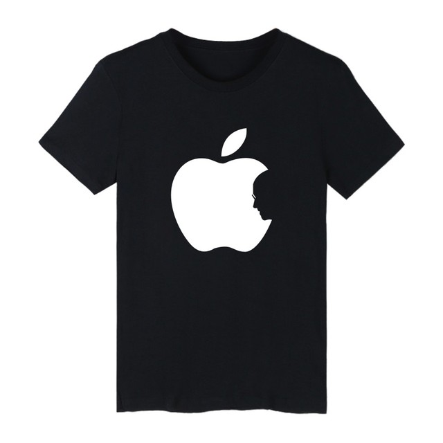 Hot Sale Apple Steve Jobs 4-color Cotton TShirt Plus Size Short Sleeve T Shirts in Fashion Biting Apple Funny T-shirt XXS 4XL
