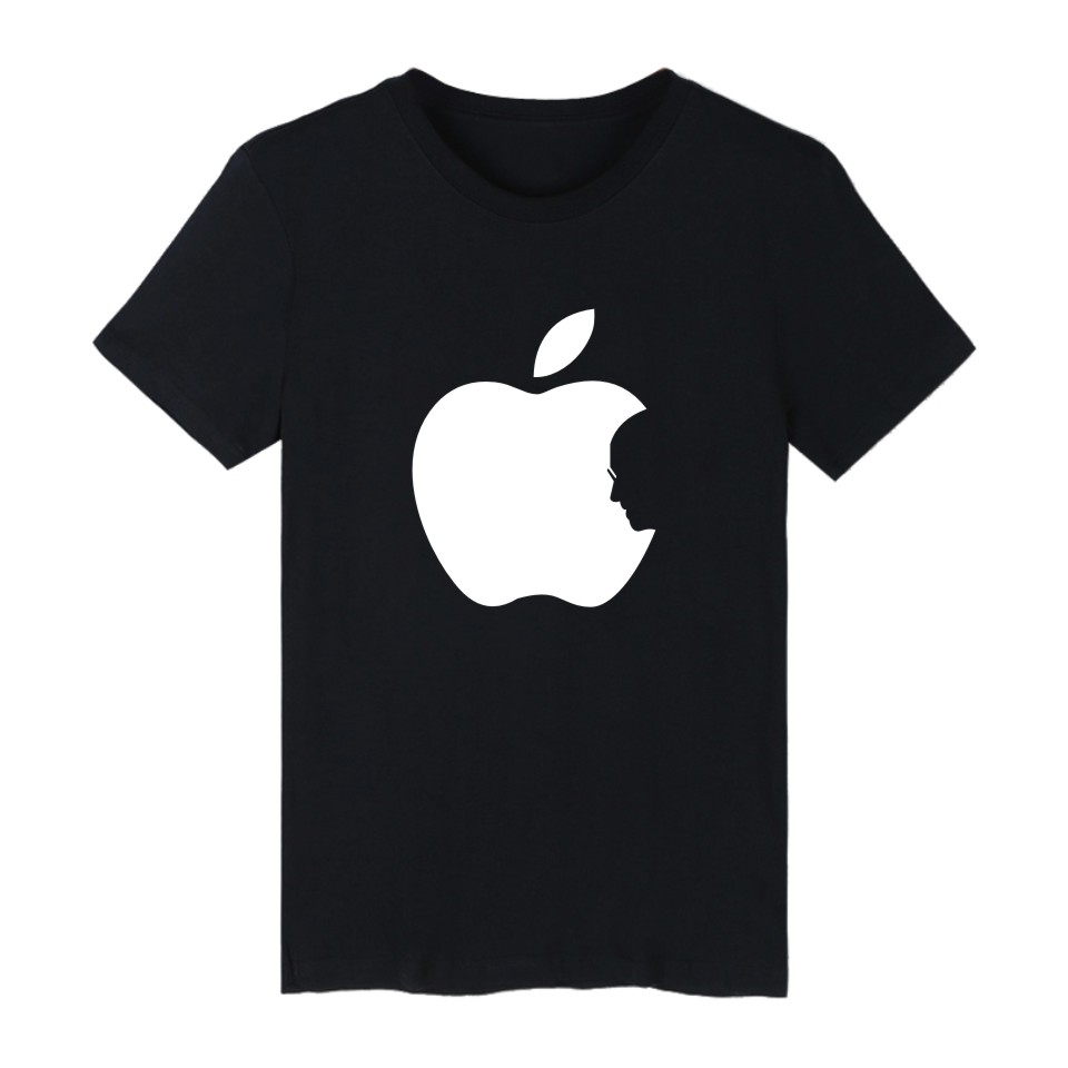 Hot Sale Apple Steve Jobs 4-color Cotton TShirt Plus Size Short Sleeve   T     Shirts   in Fashion Biting Apple Funny   T  -  shirt   XXS 4XL