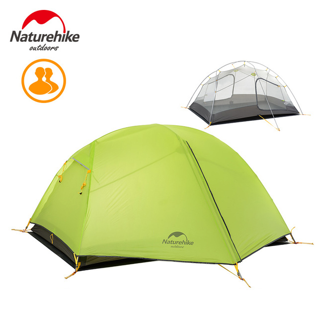 DHL FreeShipping Naturehike 2 Person Outdoor Double-layer Tent Ultralight Camping Waterproof tent 20d material tent with 3 poles naturehike ultralight 20d silicone coated 2 person double layer waterproof camping tent with snow skirt