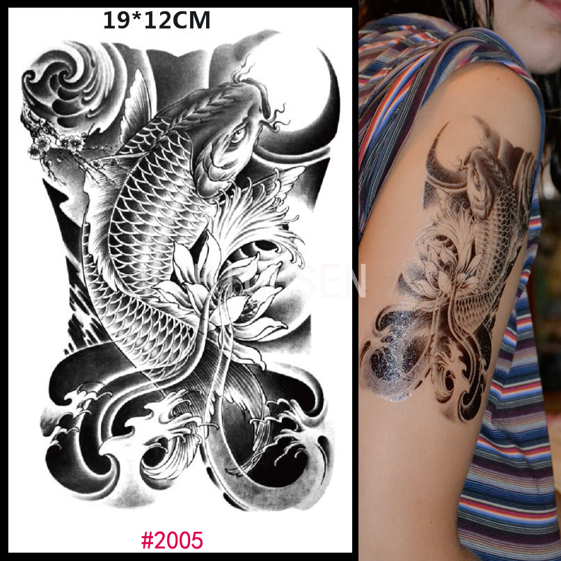 19x12cm Chinese Carp Design Tattoo Stickers Temporary Fake
