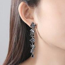 Bilincolor fashion trendy cute cubic zirconia branch wedding bridal long black drop earring for women