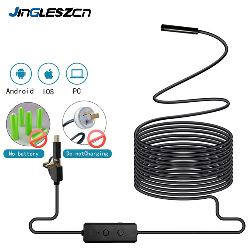 Wireless Endoscope WiFi Borescope Inspection Camera 720P HD Snake Camera With 8pc Adjustbale LED for Android and IOS Endoscope