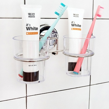Suction Cup Tooth Brush Holder ToothBrush&Toothpaste Holder Stand For Bathroom Accessories Set with Two Cups Stainless Steel
