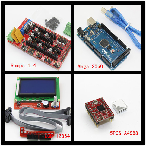 Mega 2560 R3 Microcontroller + ramps 1.4 controller + 12864 LCD Panel + A4988 stepper driver For arduino 3d printer Diy kit