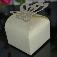 100 шт Белая/бежевая/Розовая/красная/фиолетовая/темно-синяя коробка для сладостей с бабочкой, коробка для подарков на свадьбу для девочек и мальчиков на день рождения