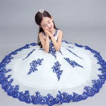 Новые Платья с цветочным узором для девочек милое праздничное