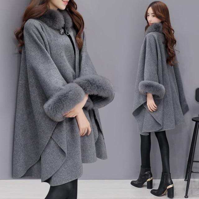 5af4612347c 2019 модное пальто зимнее женское Шерстяное Пальто с лисьим меховым  воротником корейская мода женские куртки шерстяной