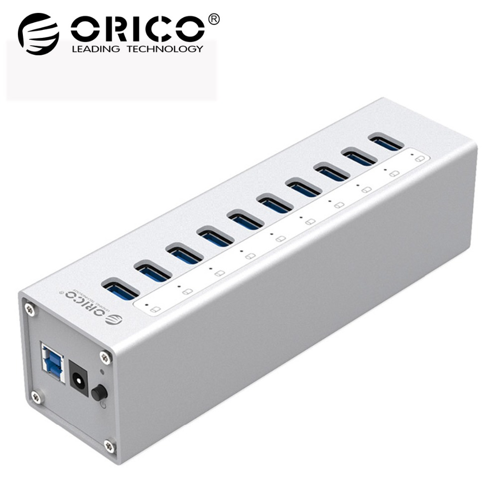 ORICO A3H10-SV Aluminum 10 Ports USB3.0 HUB High Speed 5Gbps Splitter with 12V Power Adapter Support Hot-swapping - Silver цена и фото