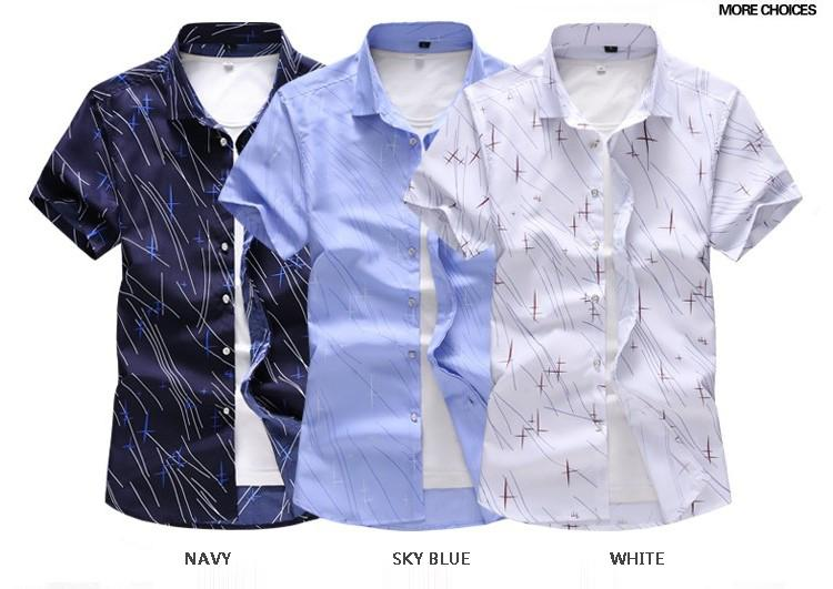 Plus Size 6XL 7XL Hawaiian Shirt Mens Short sleeves Blouse Dress Casual Mens Shirts Navy Sky blue White Camisa masculina in Casual Shirts from Men 39 s Clothing