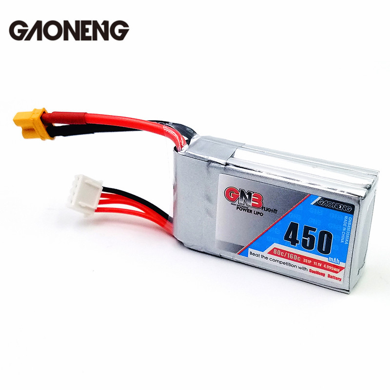 Gaoneng GNB 11.1V 450mAh/550mAh 80/160C 3S Lipo Battery Rechargeable XT30 Plug Connector For Eachine Lizard95 FPV RC Quadcopter gaoneng gnb 11 1v 350mah 50c 100c 3s lipo battery jst xt30 plug connector for rc racing drone fpv quadcopter toy spare parts