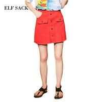 ELF SACK 2018 Summer Women Mini Casual Solid Skirt High Waist Vintage Button Denim Sexy Skirt Korea Fashion Female Jeans Skirt