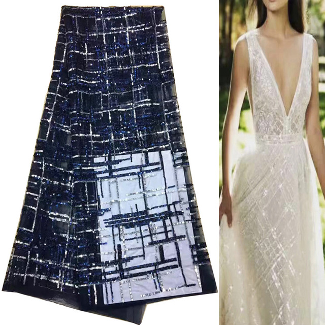 Free shipping (5yards/pc) luxury shining African tulle lace fabric navy blue French lace with lots of sequins for dress FNJ62