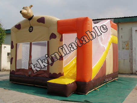 Inflatable dot dog bouncy castle with slide Children Party's combo