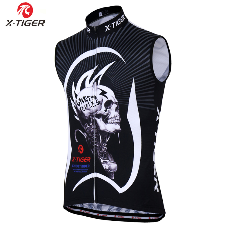 X-Tiger 2020 Pro Racing Road Bicycle Clothing Sleeveless Skull Cycling Jersey Comtortable MTB Bike Cycling Vest For Men