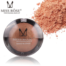 MISS ROSE 6 color baking powder blush easy to bright black transparent cover plastic shell rouge
