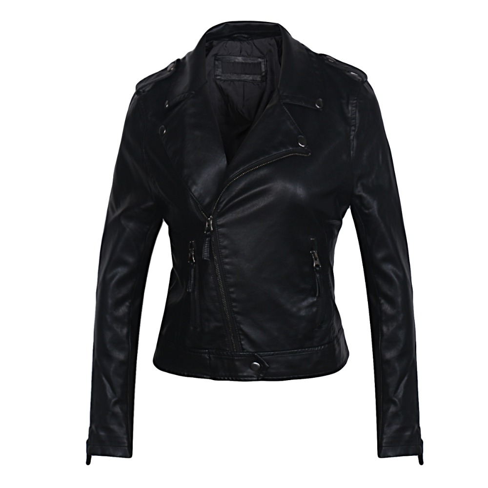 2018 brand leather jackets for women Motorcycle Turn Down Collar PU Small Leather Clothing ...
