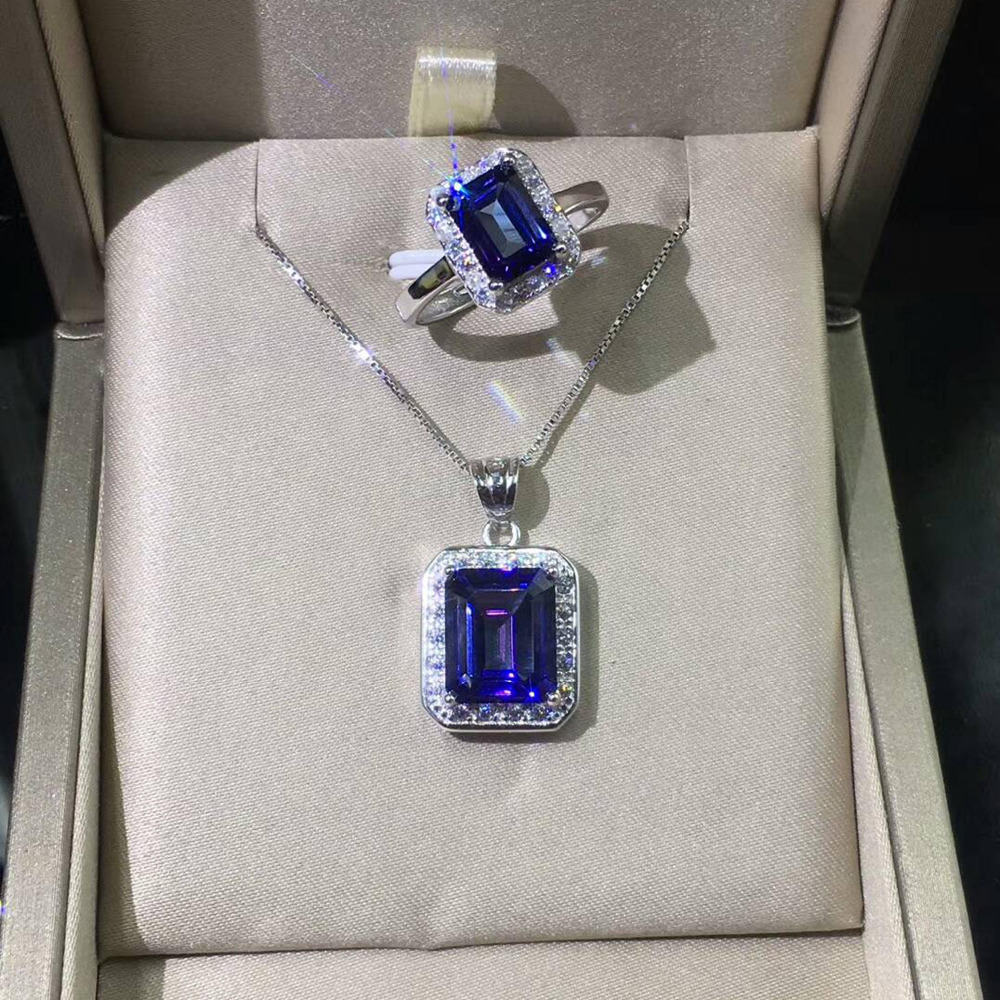 Newest 100 925 Sterling Silver Pendant Rectangle cut Natural Tanzanite Topaz Pendant Women jewelry Christmas gift