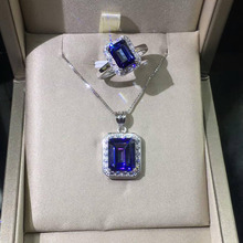 Newest 100% 925 Sterling Silver Pendant Rectangle cut Natural Tanzanite Topaz Pendant Women jewelry Christmas gift without Chain