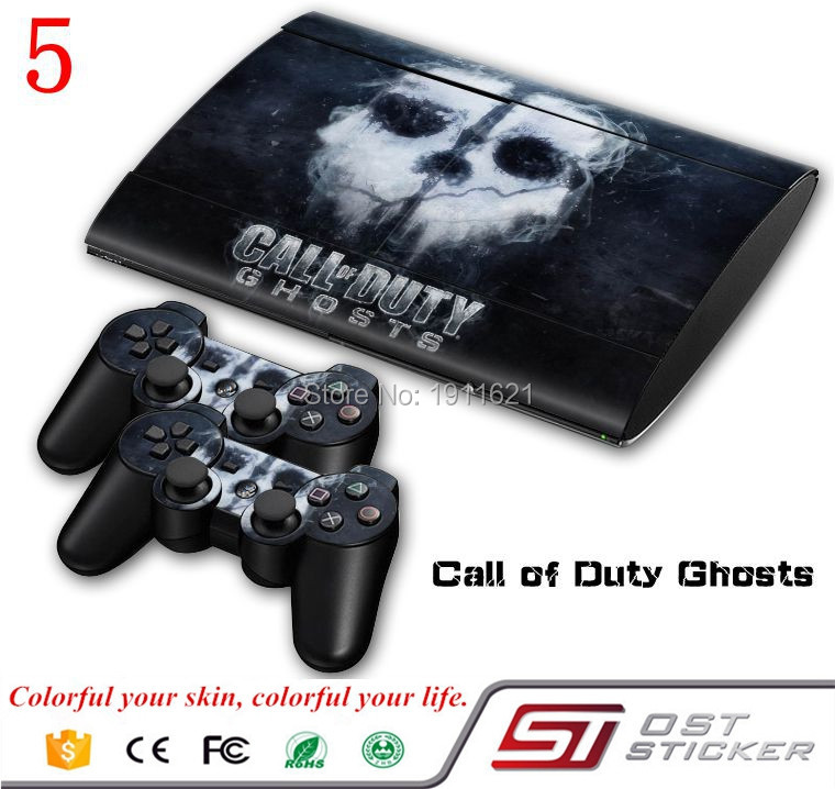 High quality Vinyl decal cover for ps3 super slim skin console and 2 controllers joystick Gamepad