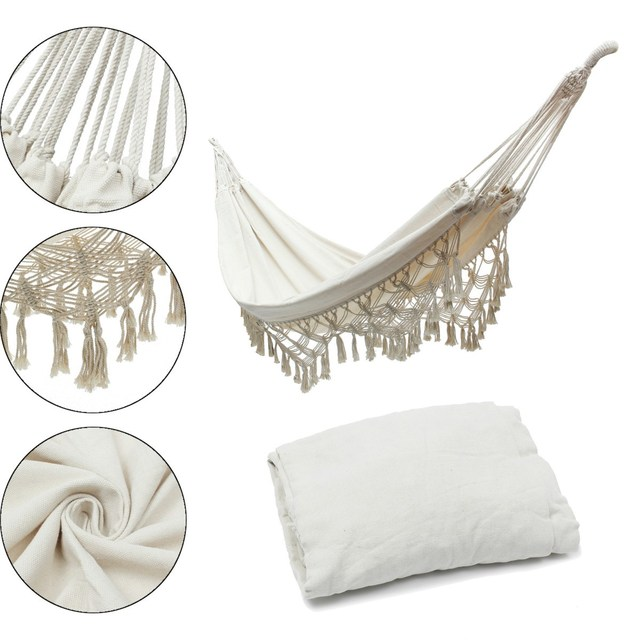New White Hanging Cotton Rope Macrame Hammock Chairs Swing Outdoor Home  Garden Outdoor Leisure Hanging Bed