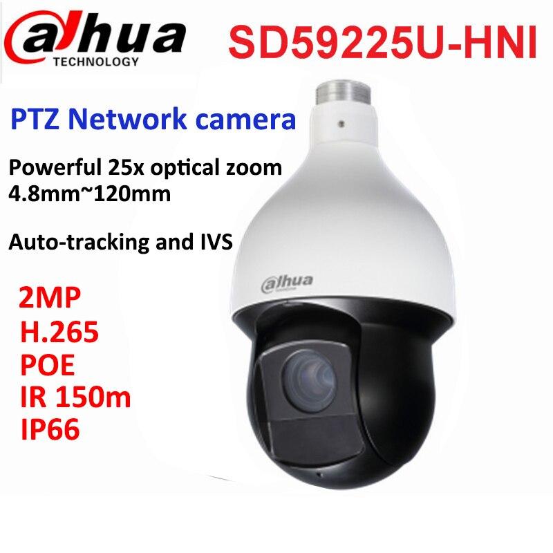 Original Dahua PTZ camera SD59225U-HNI 2MP H.265 PoE IR 150m focal lens 4.8mm~120mm CCTV camera IP66 Auto-tracking and IVS smart cctv security sd6c225i hc 2mp 25x starlight ir 150m 4 8 120mm ptz hdcvi camera