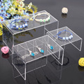 Clear Uncrystal Acrylic 1 Set Table Jewelry Display Shelf Tray Product Exhibit Pack of 3 Pcs S M L Flat And Glossy