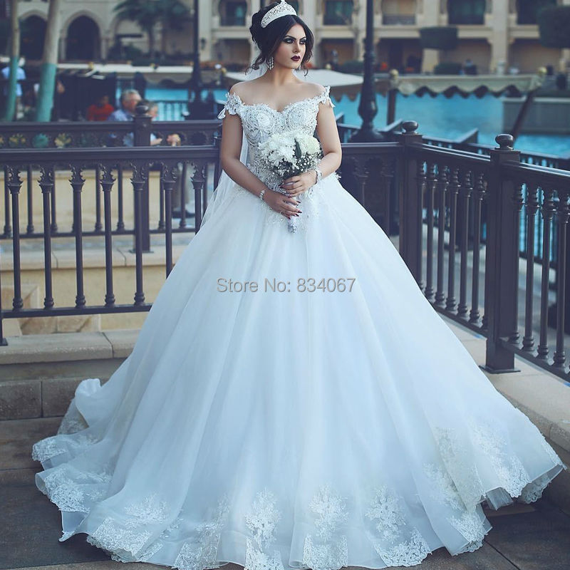 New Design 2017 Ball Gown Wedding Dress Silver Beads Lace Appliques ...