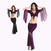 HOT SALE Mesh Speaker Sleeves Belly Dance Set Women 2pcs Top And Five Point Trousers Belly