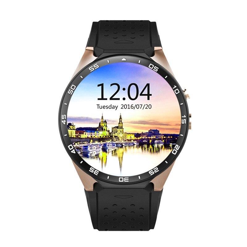 imágenes para Kingwear kw88 smart watch smartwatch teléfono 1.39 pulgadas de pantalla android 5.1 os 3g llamando 2.0mp cámara podómetro del ritmo cardíaco
