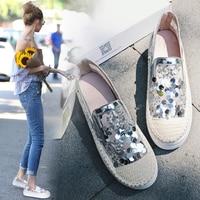 New Korean Lazy Lok Fu shoes Thick white shoes S.equins Flat Single women shoes Straw Fishermen shoes Large size .