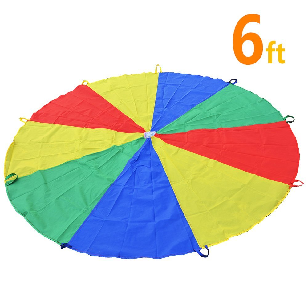 6ft (1.8M) Rainbow Parachute for Kids, Parachute Tent Toys with 9 Handles for Kids Indoor Outdoor Games