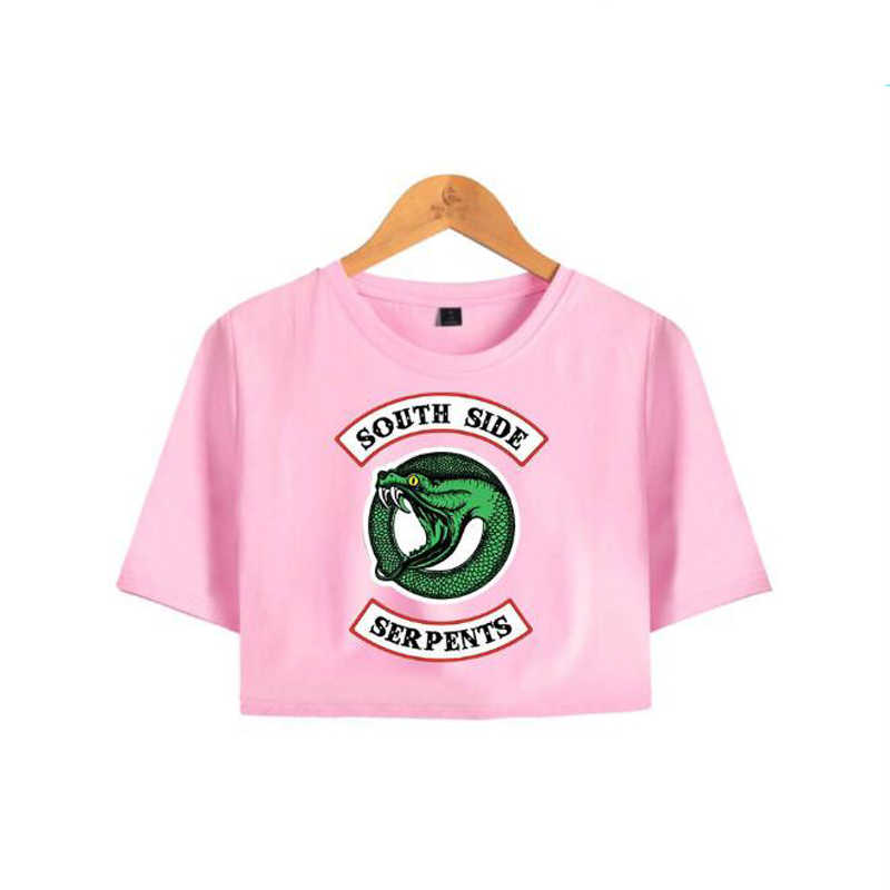 Fashion Crop Top T-Shirt Riverdale South Side Serpents Printed Pink T Shirt Cropped Tops Short Sleeve Tee Shirt Woman Clothing